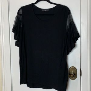 Kim & Cami black size Lg top w/ lace sleeves